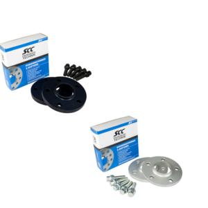 SCC Distanzscheiben 10mm + Schrauben für Audi Modelle, 5/112, 66.5mm, Silber oder Schwarz eloxiert